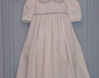 Cotton Baby Girl Dress. 4 to 6 Months. 100% Cotton White Pique