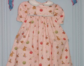"Cotton Baby Girl Dress, 4 to 6 Months. 100% Cotton, ""Vintage Toy"" Pattern"