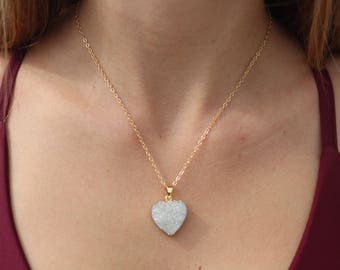 Heart Shaped Druzy Necklace, Gold Druzy Necklace