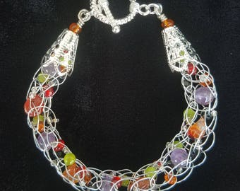 Monster Mash Silver Wire, Amethyst, and Tangerine Quartz Bracelet