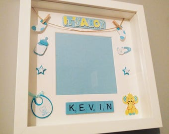 Personalised Baby Frame | Letter Frame | Baby Boy Frame | Baby Gift |Christening Gift | Baby Memory Box | Keepsake Box | Nursery Décor