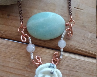 Gemstone Necklace, Gemstone Pendant, Pendant Necklace, Stone Pendant, Amazonite, Rose Quartz, Howlite