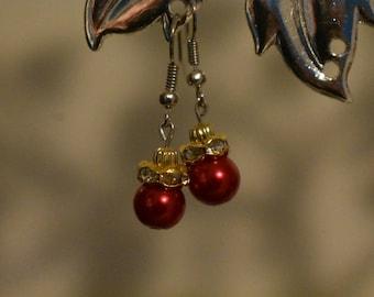 Red Christmas Ornament Earrings