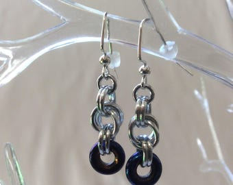 Double Spiral Chain Mail Earrings with Blue Iris Czech Pressed Glass Ring