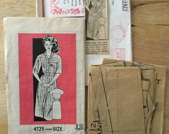 1970's Vintage mail order sewing pattern 4725 Shirt dress with yoke 3/4 length or short sleeve options Size 12 Bust 34