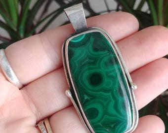 Sterling Silver malachite pendant / unisex mens or womens malachite rectangle silver pendant