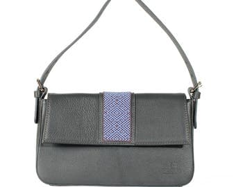 Bead Embroidery Leather Baguette bag Grey - Wixárika Mexican Art (Blue/Grey)