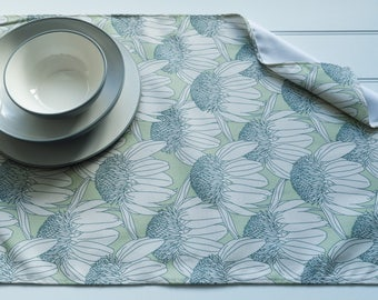 Tea Towel in Echinacea Blooming Turquoise Pattern Made from 100% Cotton