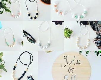 Nursing Necklaces - BPA free silicone beads raw natural timber beads