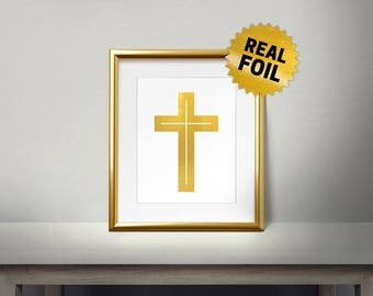 The cross Wall Art, Christian Symbols, Gold Cross, Religious Symbols, Jesus on the Cross, Real gold foil paper, gold foil printing,