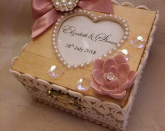 Custom made Custom Made Personalised wooden Ring Box Jewellery Box Ring Bearer Wedding rustic shabby chic vintage box