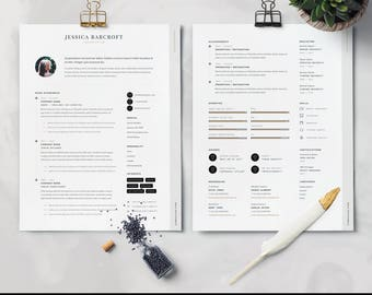 Resume Template / CV Template + Cover Letter | Instant Digital Download | Teacher Resume | Professional and Creative Resume