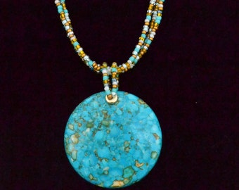 Turquoise, Gold, and White Pendant Necklace and Earrings Set