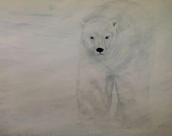 Custom Soul Painting/ spirit, polar bear, animal, animal guide, power animal, painting, original, art, drawing, sacred, geometry