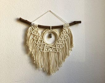 Medium Macrame Wall Hanging with Woven Hoop and Genuine Blue Sodalite Crystal on Foraged Tree Branch, Woven Wall Hanging, Woven Tapestry