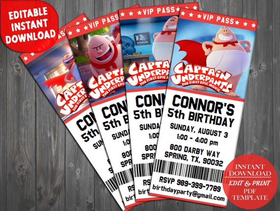 captain underpants ticket invitations captain underpants