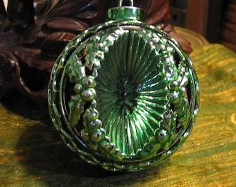 Vintage Bradford Unbreakable Plastic Die-Cut Filigree Christmas Ball Ornament circa 1960s