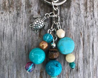 Keychains for Women, Turtle Keychain, Turtle Gifts, Turtle Bag Charm, Purse Charm for Handbags, Beach Keychain, Beach Gifts for Women, Gift