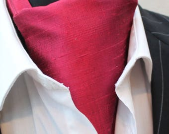 Cravat Ascot 100% Silk Front UK Made. Burgundy Red Dupion Silk + match hanky.