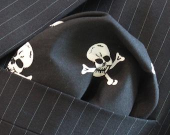 Hankie Pocket Square Handkerchief Skull Crossbones B/W Premium Cotton - UK Made