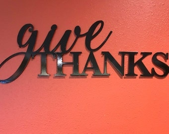 Give Thanks Metal Wall Art