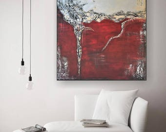 XXL acrylic painting abstract on canvas 100x120x4, 5 cm, pallet knife, unique by VictoriasFineArt