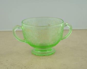 Green Depression Glass Sugar Dish