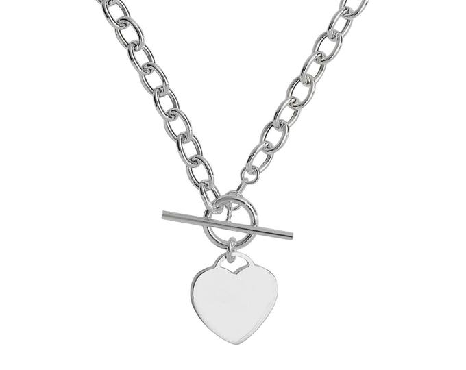 "Sterling Silver 925 Heart Charm T-Bar 17"" Albert Chain Necklace Hallmarked"