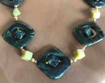 Kambaba Jasper, Jade Beaded Necklace--Natural, Stone