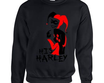 His Harley Joker Face Couple Goals Adult Unisex Designed Sweatshirt Printed Crew Neck Sweater for Women and Men