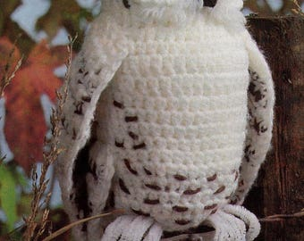 Vintage Crochet Snowy Owl Pattern PDF Instant Digital Download Amigurumi Plush Stuffed Toy Owl Bird of Prey of A Feather