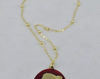 Handmade necklace with cameo of brass colored with cold enamel aluminum chain