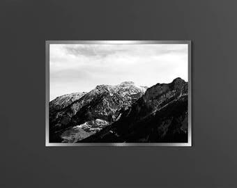 Black White Mountain Dark Photo Mountain Photography Modern Home Decor Scandinavian Print Nordic Printable Instant Download Alps Mountains