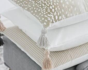 Antelope Tassel Throw Pillow Cover, Antelope Theow pillow, Fawn pillow cover, fawn pillow, neautral pillow cover