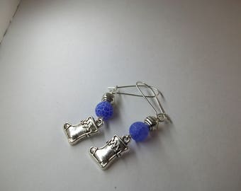 Silver spacer and blue fire agate with Christmas Stocking charm earrings