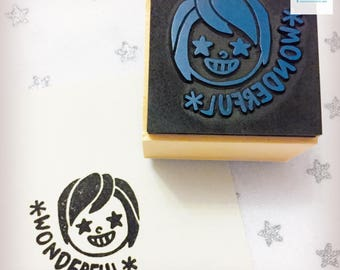 Hand Carved Wonderful Girl Rubber Stamps