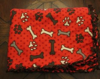 paw prints and bones fleece blanket