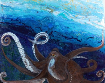Octopus 20X24Genius Of The Sea-Original  Octopus Acrylic and Epoxy Resin Painting on Canvas.Marine and Sea Life Animal.
