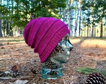 Bright Purple Wool Slouchy Knit Hat