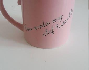 Vintage Coffee Mug Treble Clef Music Tea Cup Humor pink Coffee Cup 1980