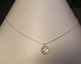 Star necklace in Silver 925 cabochon 12mm