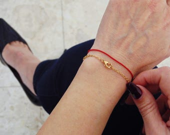 Dainty Bracelet, Heart Bracelet, Minimalist bracelet, Chain bracelet, Thin chain bracelet, Skinny bracelet, Delicate bracelet, Gold bracelet