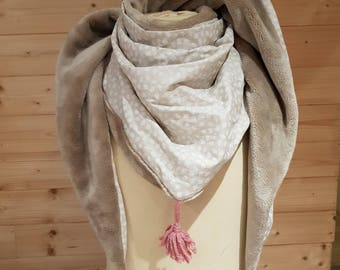 Adult, beige, Brown, scarf, scarf, Snood fleece, cotton feather print