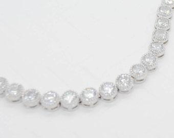 Ily Cubic Zirconia Tennis Bracelet, Silver CZ Bridal Bracelet, Crystal Wedding Bracelet, Cubic Zirconia wedding jewelry, CZ Wedding Bracelet