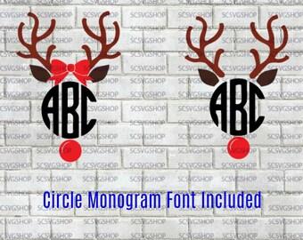 Monogram Reindeer svg, Reindeer SVG, Silhouette File, Cut File, SVG, Gift, Decals, Mugs, Digital, DIY, Print, Cricut Design Space, Vector