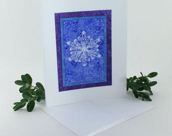 Snowflake blues embossed blank card, individually made on hand-painted papers: A2, notecards, fine cards, winter, SKU BLA21031
