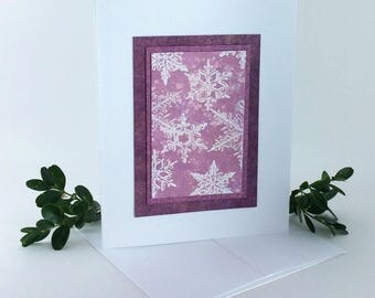 Snowflakes on rose embossed blank card, individually handmade: A2, winter cards, SKU BLA21014