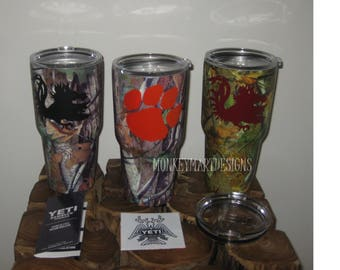 "YETI Rambler tumbler cup custom made with ""CLEMSON or CAROLINA"" logo,30oz powder coated black,red, white,Camo-Hydo"