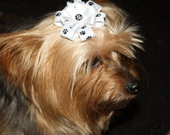 Dog or Puppy Hair Bow, Bow attached to alligator clip.