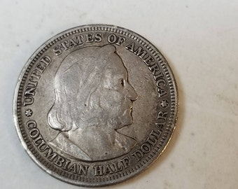 1893 silver columbian half commemorative  worlds fair, chicago exposition
